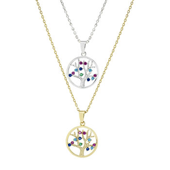 Sparkle Allure You & Me Family 2-pc. Cubic Zirconia 14K Gold Over Brass Pure Silver Over Brass 16 Inch Link Necklace Set