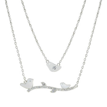 Sparkle Allure You & Me Mother And Daughter 2-pc. Cubic Zirconia Pure Silver Over Brass Necklace Set