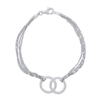 Sterling Silver 7.5 Inch Semisolid Curb Chain Bracelet