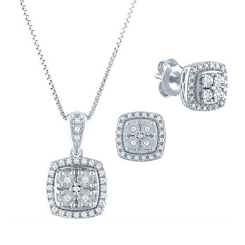 Diamond Blossom 1/4 CT. T.W. Genuine Diamond Sterling Silver 2-pc. Jewelry Set
