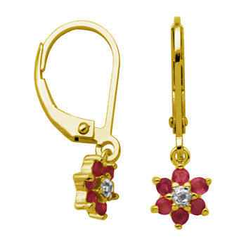 Silver Treasures Ruby 18K Gold Over Silver Flower Drop Earrings