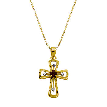 Silver Treasures Stone 18K Gold Over Silver 18 Inch Cable Cross Pendant Necklace