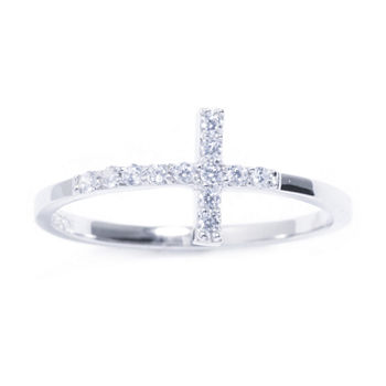 Silver Treasures Cubic Zirconia Sterling Silver Cross Ring