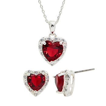 Sparkle Allure Cz Fashion Newness 2-pc. Cubic Zirconia Pure Silver Over Brass Heart Jewelry Set
