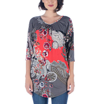 24/7 Comfort Apparel Womens 3/4 Sleeve Tunic