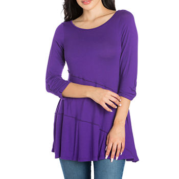 24/7 Comfort Apparel Womens Ruched Sleeve Swing Tunic