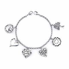Footnotes Silver Over Brass Charm Bracelet