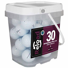 Reload 30 pack Titleist Prov1X Refinished Golf Balls in a reusable plastic bucket with handle.