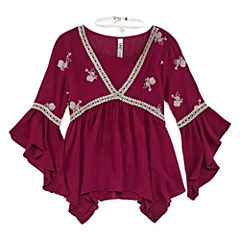 Beautees Lace Sharkbite Top w Necklace - Girls' 7-16