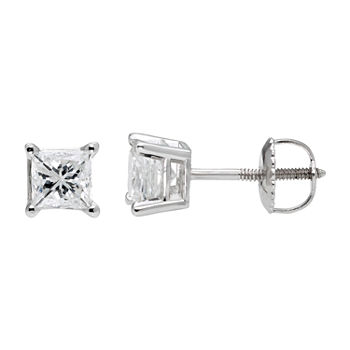 Premier Collection 1 CT. T.W. Princess-Cut Genuine Diamond Stud Earrings