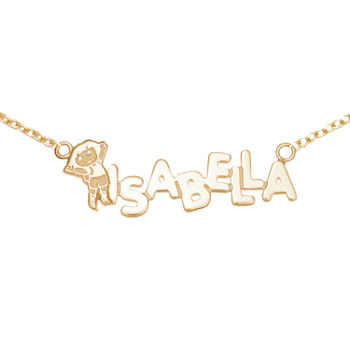 Personalized Dora Girls 14K Yellow Gold over Sterling Silver Name Necklace