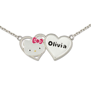 Hello Kitty® Personalized Girls Sterling Silver and Enamel Two Heart Necklace