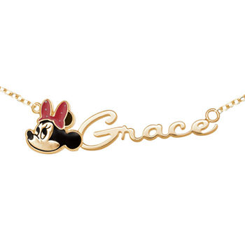 Disney Personalized Girls 14K Yellow Gold over Sterling Silver Minnie Mouse Name Necklace
