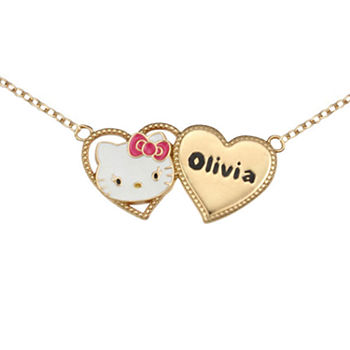 Hello Kitty® Personalized Girls 14K Yellow Gold over Sterling Silver Two Heart Necklace