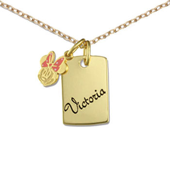 Disney Personalized Girls 14K Yellow Gold over Sterling Silver Minnie Mouse Charm Dog Tag Necklace