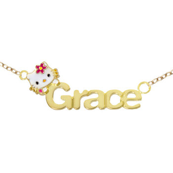Hello Kitty® Personalized Girls 14K Yellow Gold Over Sterling Silver Name Necklace