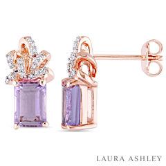 Laura Ashley Purple Amethyst 18K Gold Over Silver Ear Pins