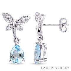Laura Ashley Blue Blue Topaz Sterling Silver Drop Earrings