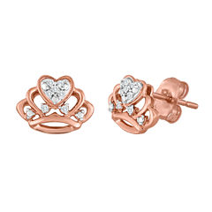 Diamond Accent Round White Diamond 10K Gold Stud Earrings