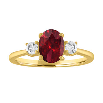 Womens Genuine Red Garnet 10K Gold Cocktail Ring