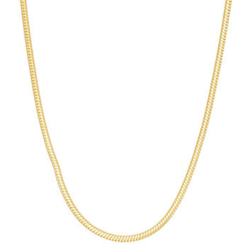 14K Gold Over Silver Solid Snake Chain Necklace
