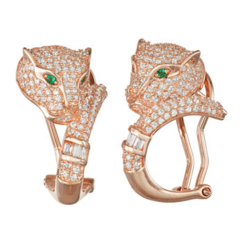 2 1/2 CT. T.W. White Cubic Zirconia Panther 14K Rose Gold Over Silver Earrings