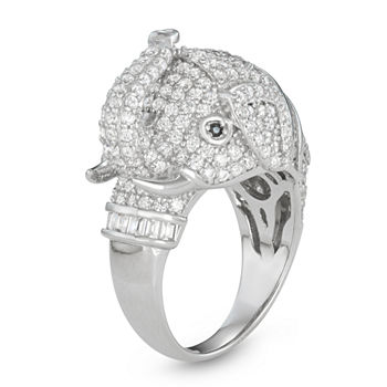 Womens Cubic Zirconia Sterling Silver Elephant Cocktail Ring