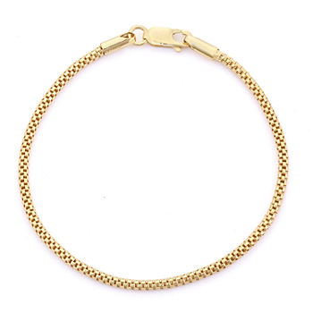 14K Gold Over Silver 7.25 Inch Solid Link Chain Bracelet