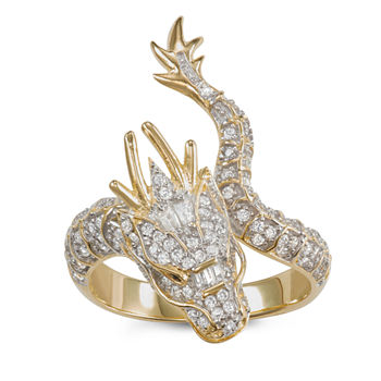 Womens 1 1/4 CT. T.W. Cubic Zirconia 14K Two Tone Gold Over Silver Dragon Cocktail Ring
