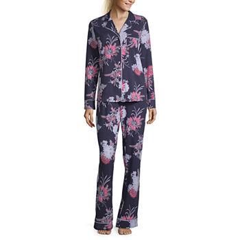 Liz Claiborne Womens Long Sleeve 2 pc. Pajama Pant Set
