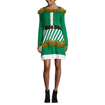 City Streets Long Sleeve Embellished Drop Waist Dress-Juniors