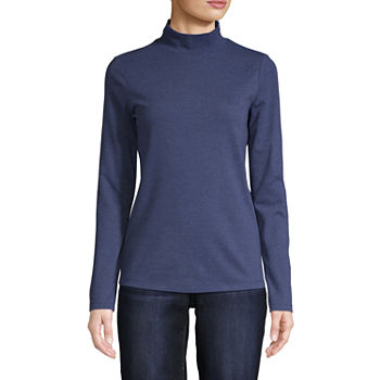 St John S Bay Womens Long Sleeve Mock Neck Top