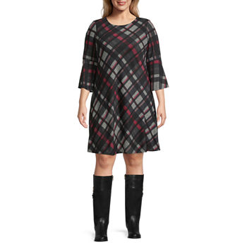 Jessica Howard-Plus 3/4 Sleeve Plaid Shift Dress