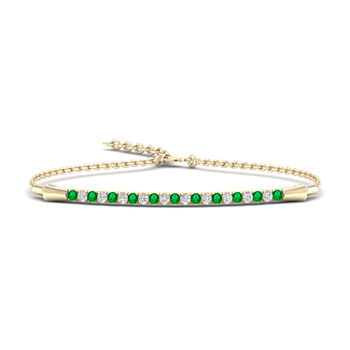 1/8 CT. T.W. Genuine Green Emerald 10K Gold Bolo Bracelet