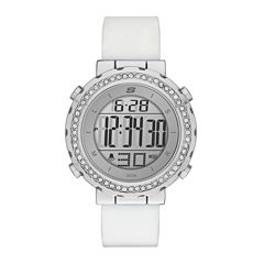Skechers® Womens Crystal White Silicone Strap Watch