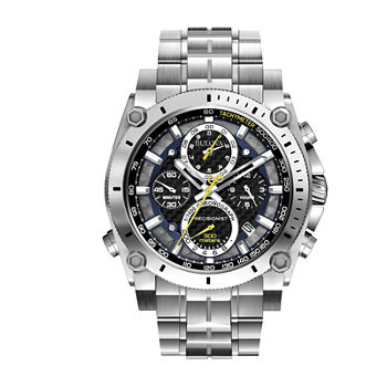 Bulova Precisionist Mens Chronograph Silver Tone Stainless Steel Bracelet Watch - 96b175