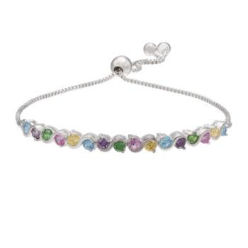 Sparkle Allure Sparkle Allure Womens Multi Color Silver Over Brass Beaded Bracelet