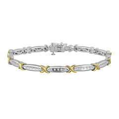 1/4 CT. T.W. Diamond 14K Gold Over Sterling Silver Two-Tone Bracelet