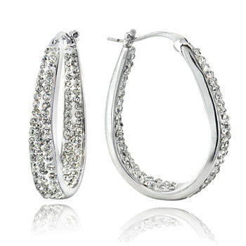 Sparkle Allure Pure Silver Over Brass Hoop Earrings