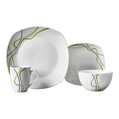 Tabletops Unlimited Decal U0026 White 16 Pc. Dinnerware Set