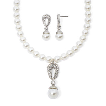 Monet® Simulated Pearl Crystal Double Drop Earring and Necklace Boxed Set