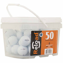 50 pack Bridgestone E6 Refinished Golf Balls in a reusable plastic bucket with handle.
