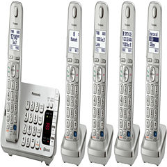 Panasonic KX-TGE275S Link2Cell DECT 6.0 Bluetooth Cordless Phone w/ 5 Handsets & Answering Machine - Silver