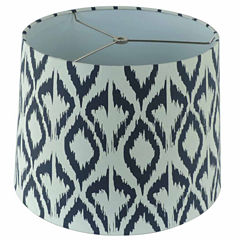 White Linen Shade With Black Print