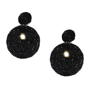 Bijoux Bar Black Beaded Drop Earrings