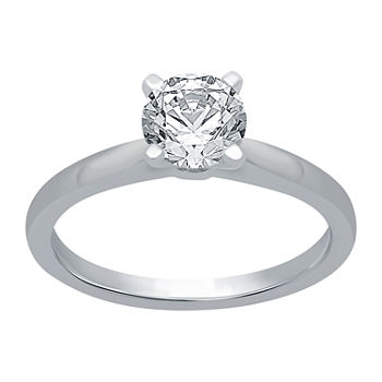 Ever Star Womens 1 CT. T.W. Lab Grown White Diamond 10K White Gold Round Solitaire Engagement Ring