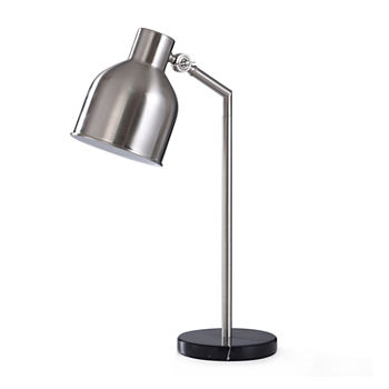 Stylecraft Irby Brushed Nickel And Black Marble Desk Lamp