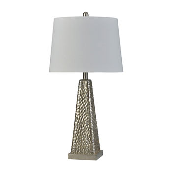 Stylecraft Amara Silver Glass And Steel Metal Table Lamp