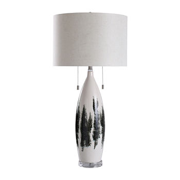 Stylecraft Yates Field White And Clear Pattern Bottle Ceramic Table Lamp