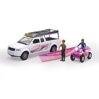 New Ray 1:20 Camping Adventure Pickup Pink Atv